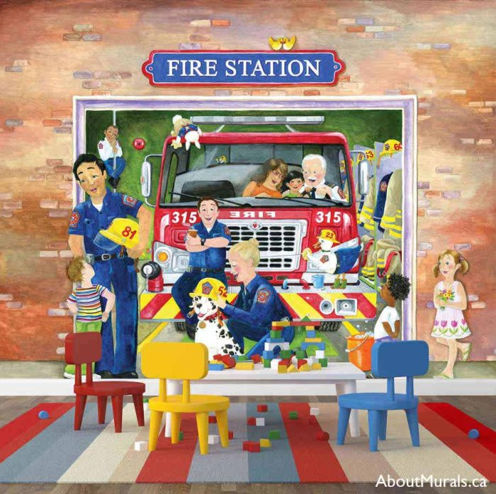 A kids wall mural in a playroom featuring fire fighters showing kids the fire engine