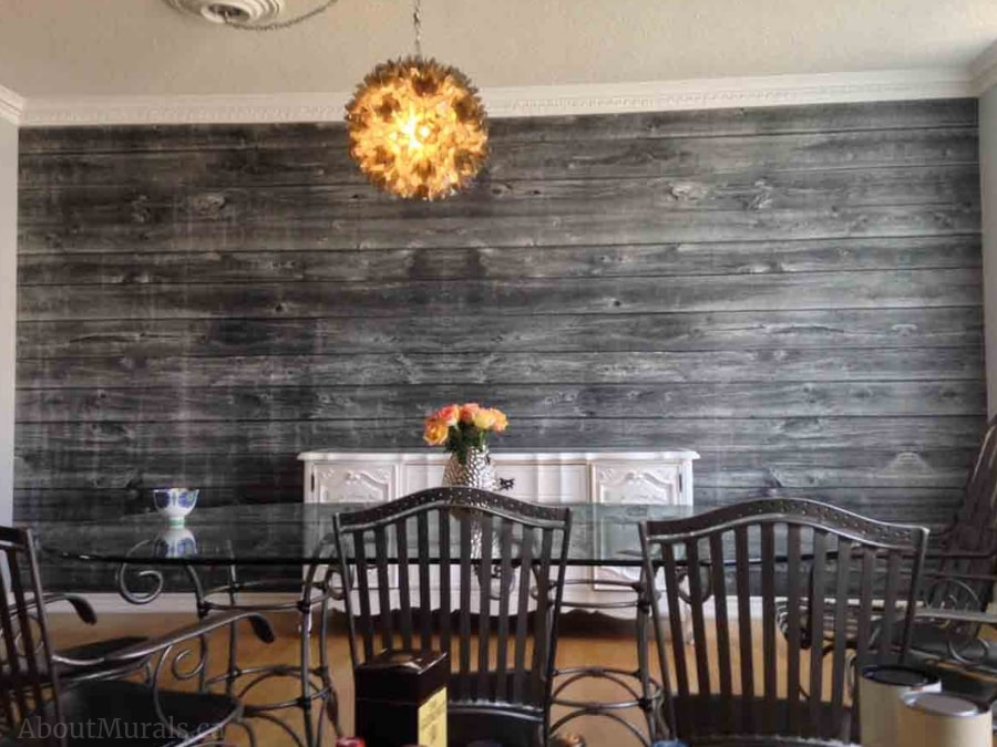 Horizontal Barn Wood Wall Mural Black and White, as seen in this dining room, is a super realistic looking faux wood wallpaper sold by AboutMurals.ca