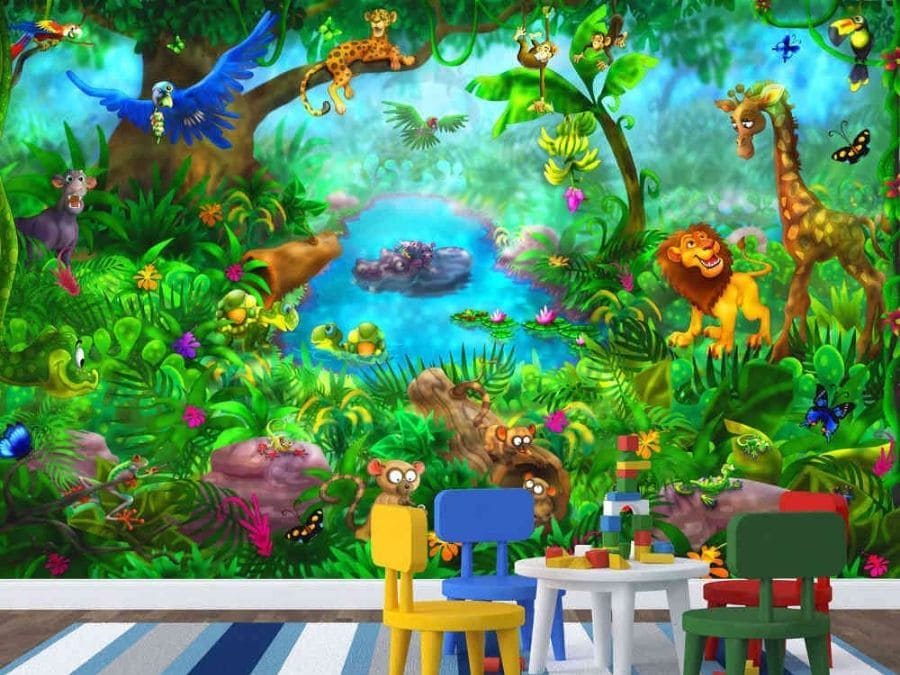 Jungle Wall Mural Cute Animal Design For Kids About Murals