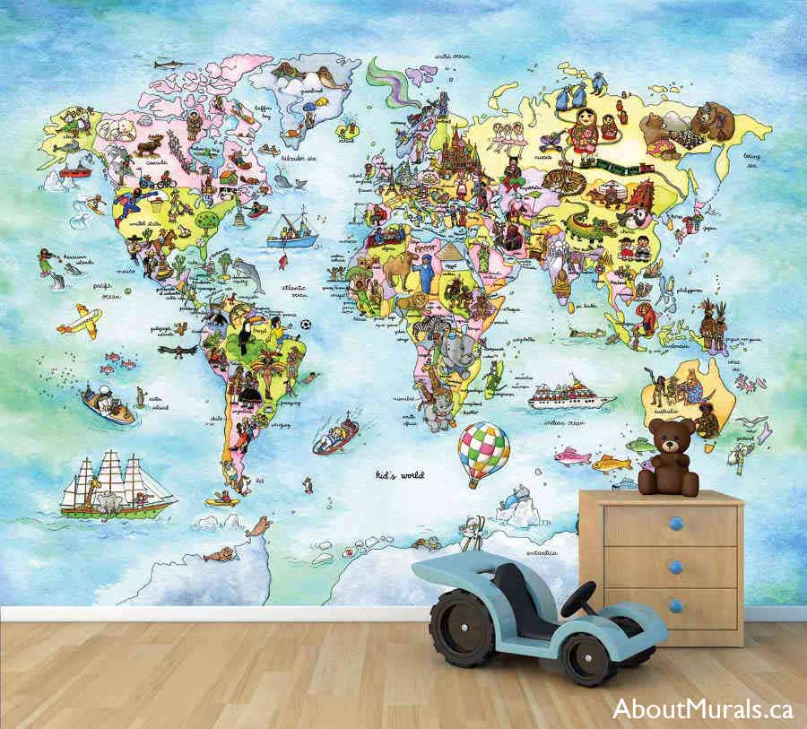A kids world map wall mural in a playroom, sold by AboutMurals.ca