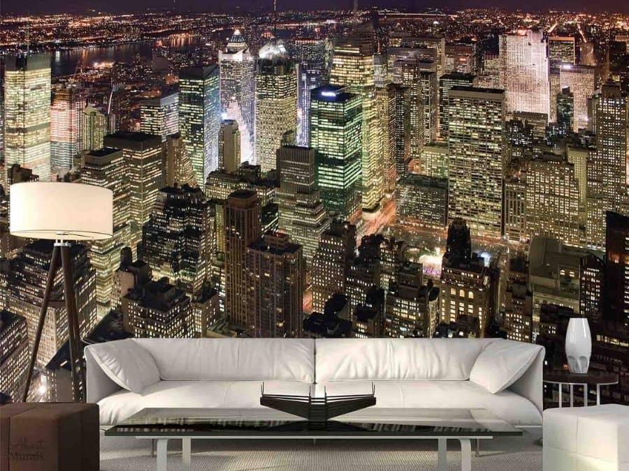 Manhattan At Night Wallpaper Cityscape Design For Walls About Murals