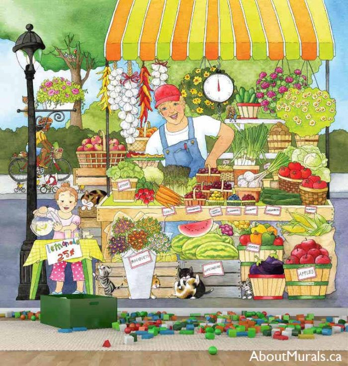 A kids wall mural in a playroom featuring a farmer and his daughter selling fruit and vegetables at the market