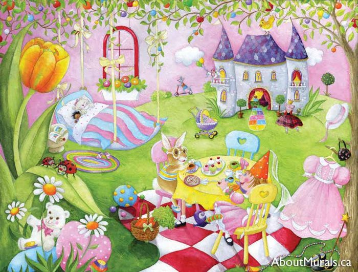 A princess wall mural featuring royal dolls having a tea party on castle grounds, sold by AboutMurals.ca