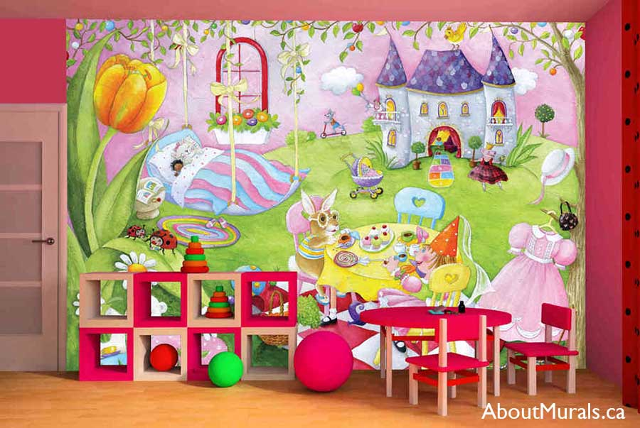 A princess wall mural in a playroom featuring royal dolls having a tea party in a castle garden, sold by AboutMurals.ca