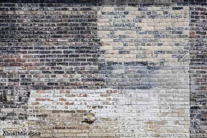A brick wallpaper with white and black decaying paint