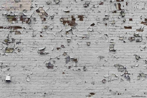 A brick wallpaper with peeling white paint over an industrial feeling brick wall