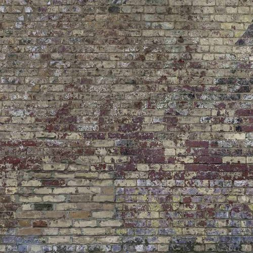 A faux brick wallpaper with decaying paint over a red brick wall