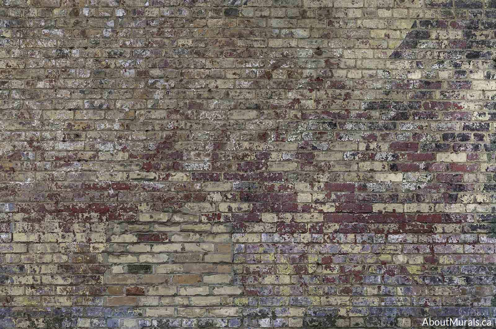 A vintage brick wall mural printed on removable wallpaper. Sold by AboutMurals.ca