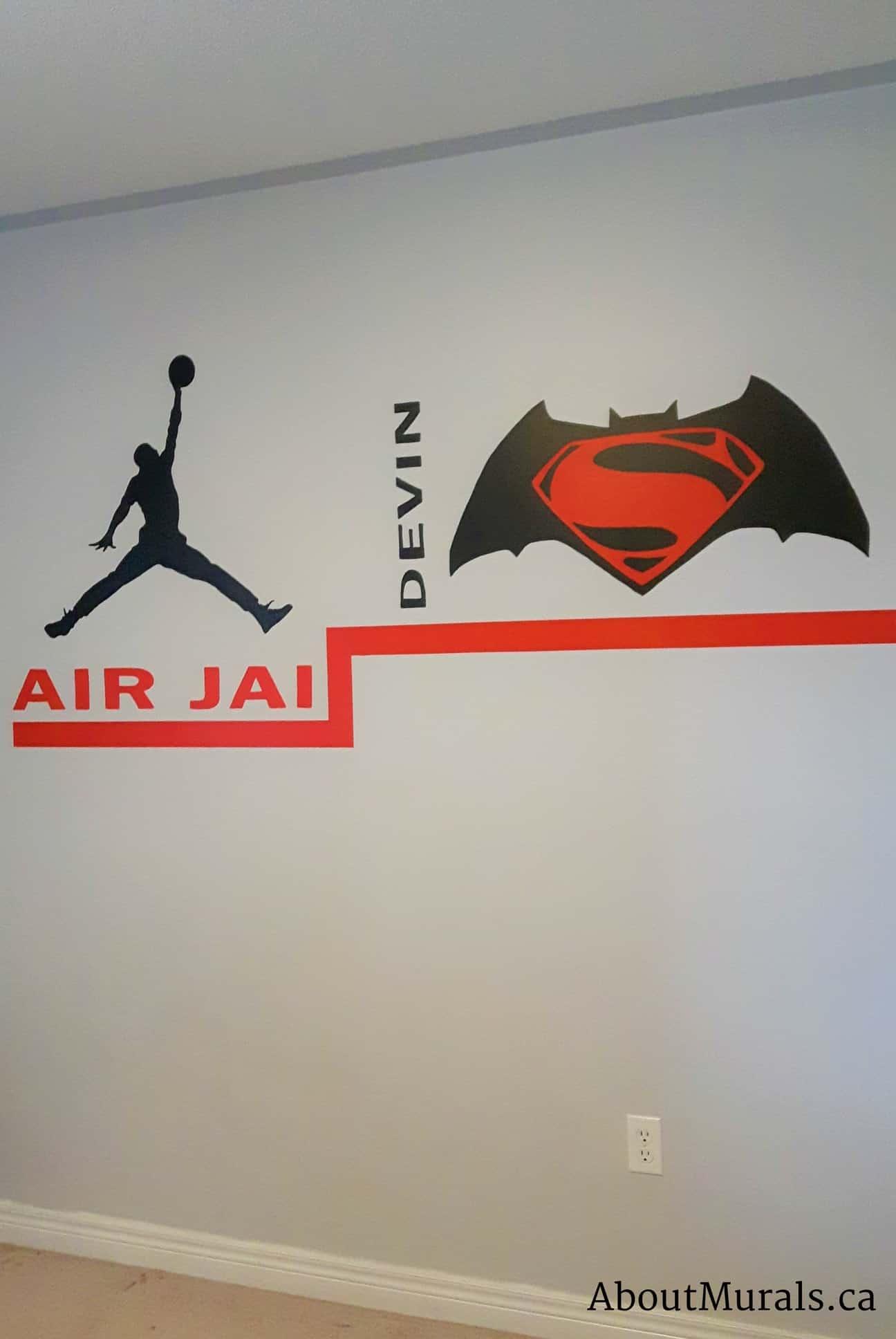 A kids wall mural featuring a personalized Air Jordan logo and Batman versus Superman logo