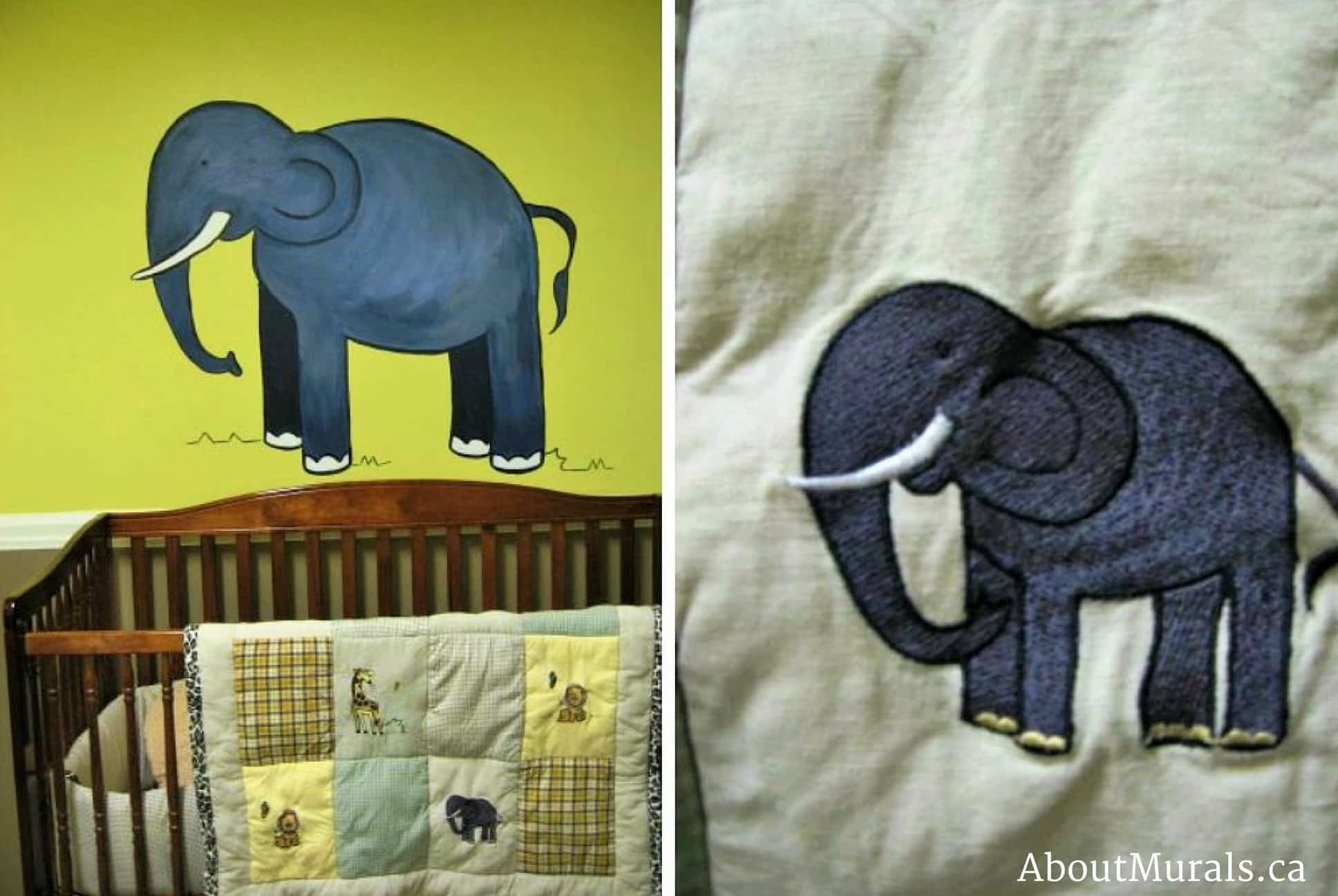 A kids wall mural featuring an elephant over a baby crib