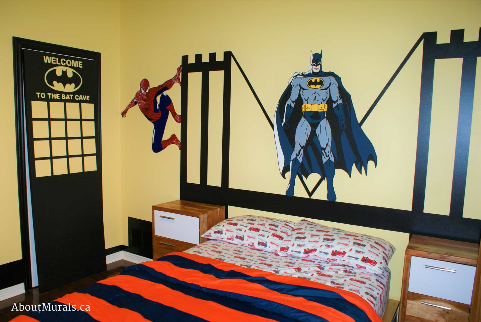 A kids wall mural featuring the superheros Batman and Spiderman