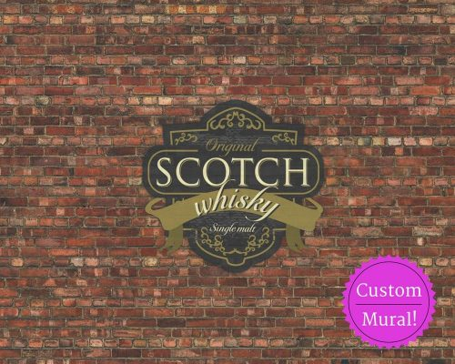 A custom wallpaper with a Scotch Whisky label printed on brick
