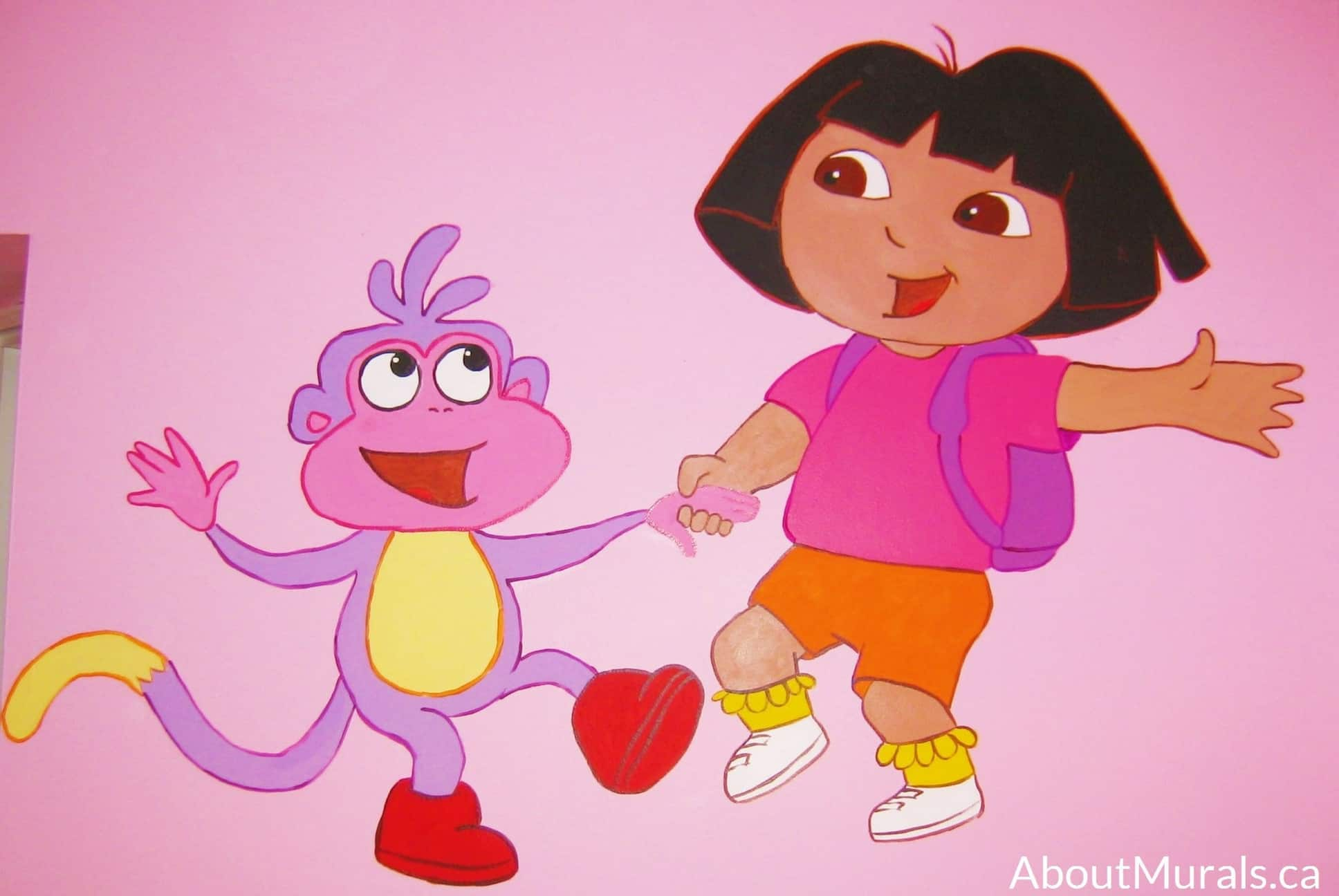A kids wall mural featuring Dora the Explorer and Boots