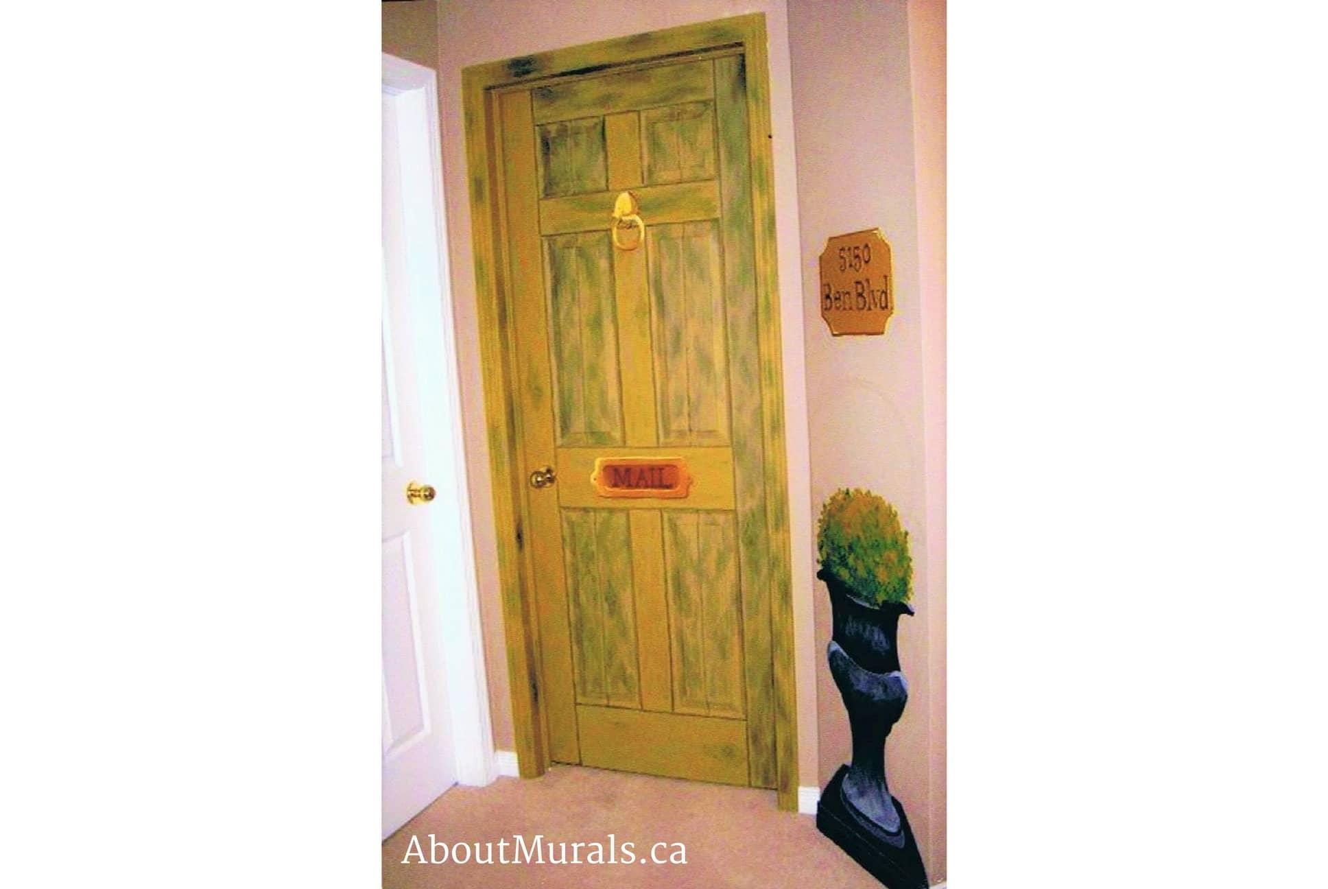 Mural painter Adrienne Scanlan painted this bedroom door on a kids bedroom to look like a front door
