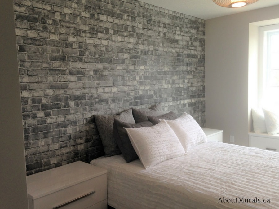 Grey Brick Wallpaper | Customer Photos from AboutMurals.ca