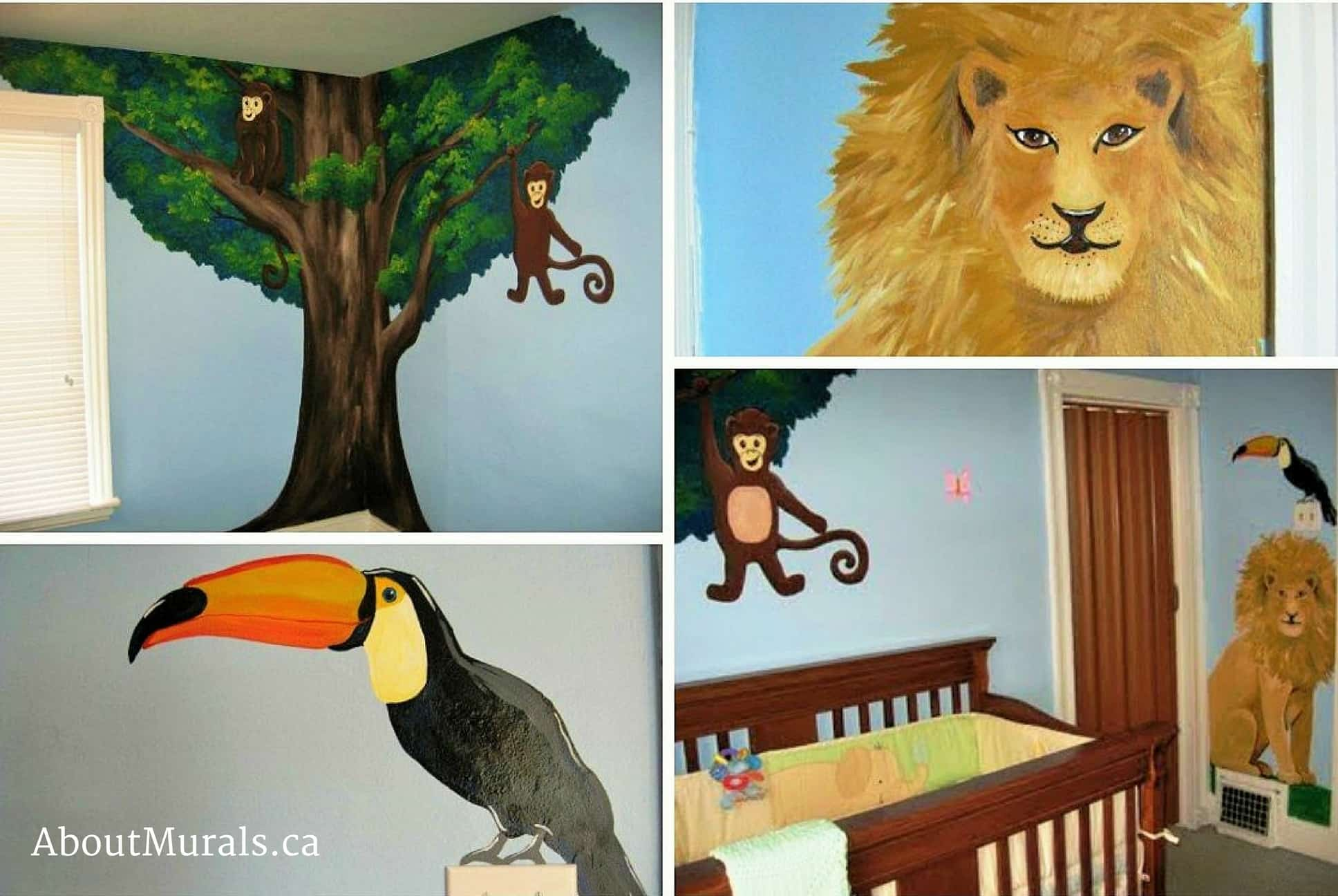 A kids wall mural featuring a toucan, lion and monkeys swinging from a tree over a baby crib