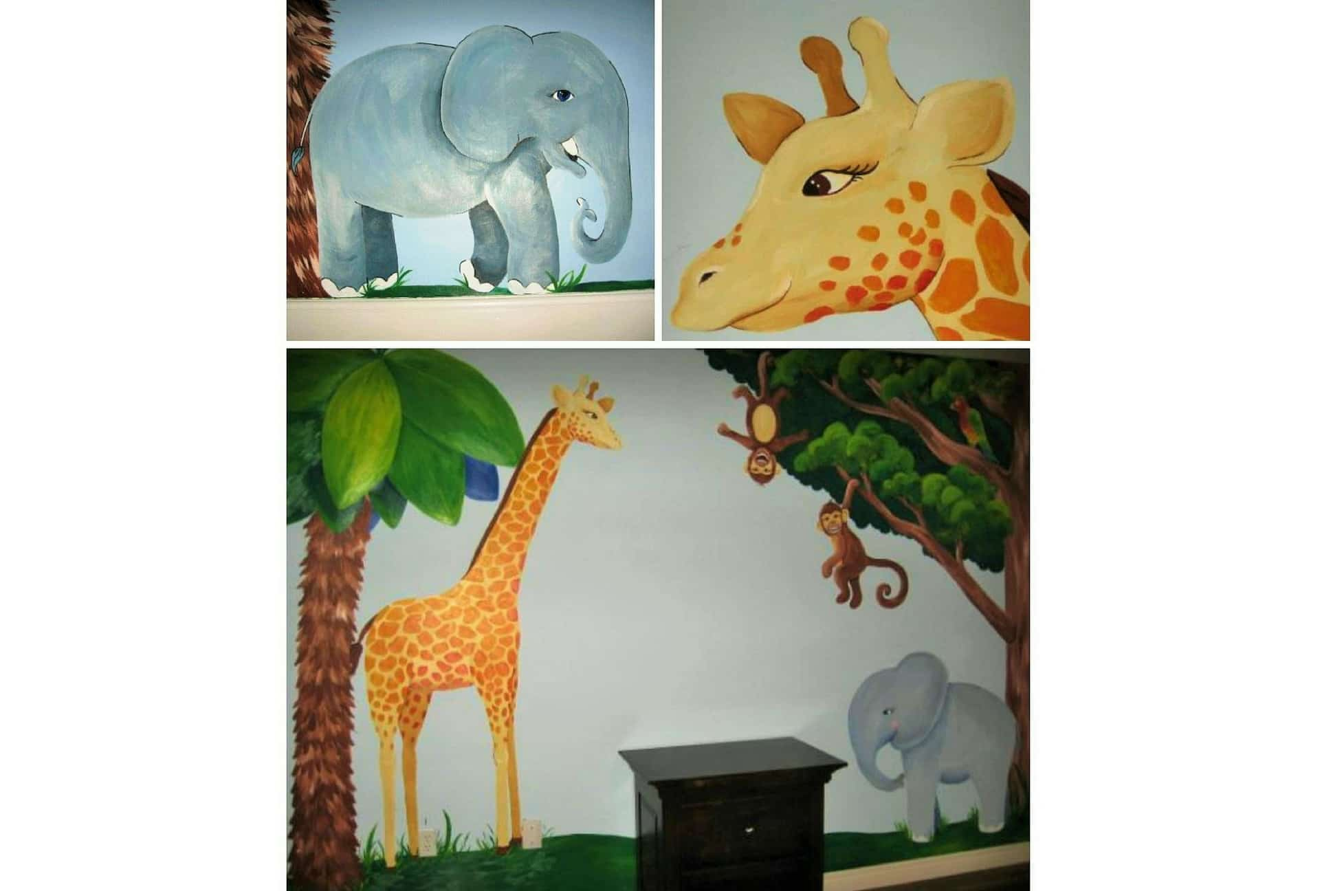 A kids wall mural featuring an elephant, giraffe and monkeys swinging from a tree