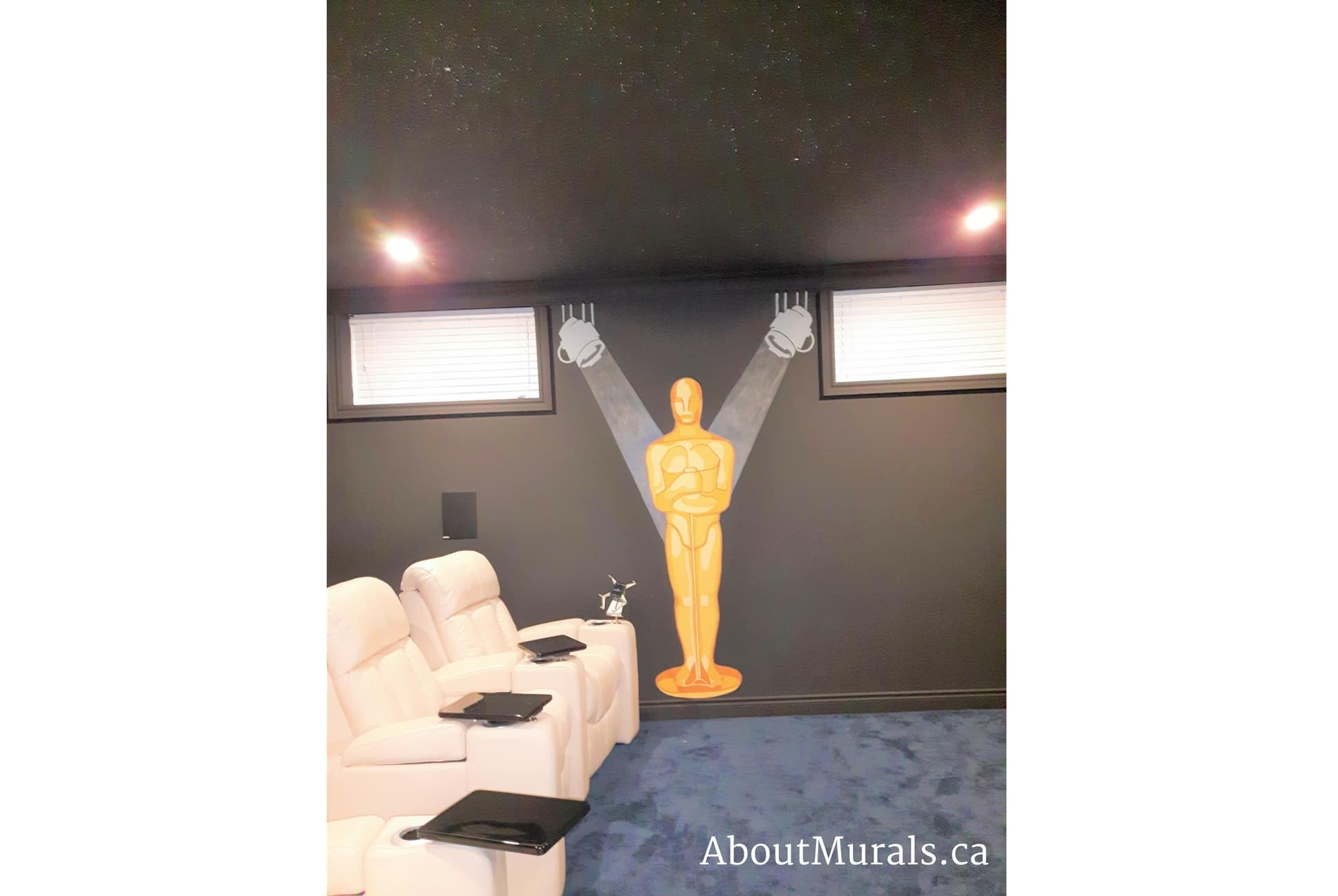 A painted mural of Oscar from the Academy Awards