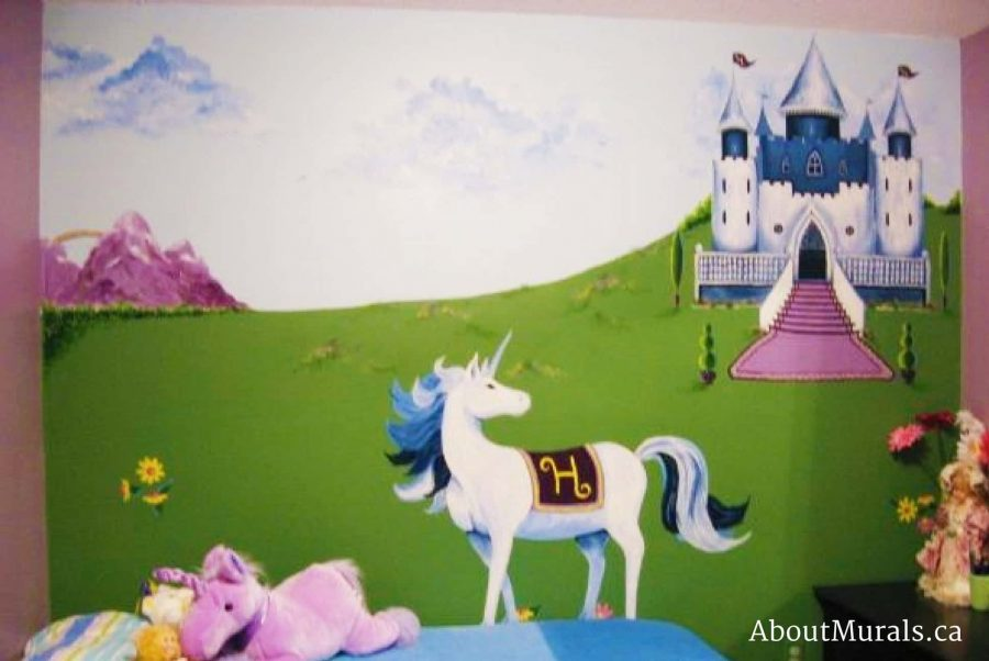 A princess mural featuring a unicorn and castle painted by Adrienne of AboutMurals.ca