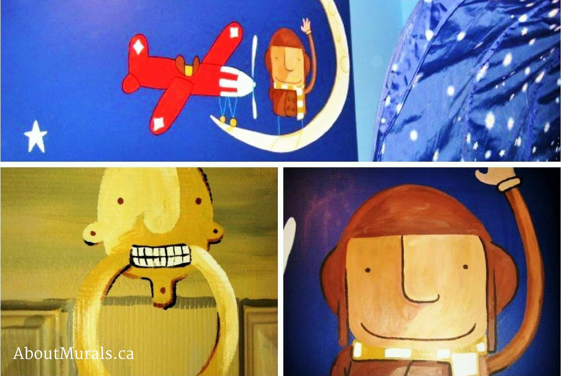 A kids wall mural featuring characters from the book How to Catch a Star