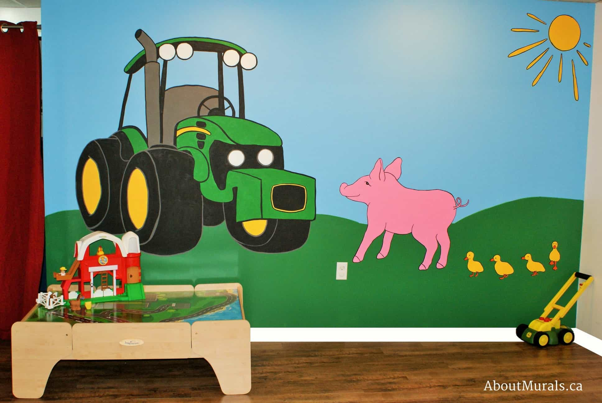A kids wall mural featuring a John Deere tractor, a pig and ducks on a farm painted by AboutMurals.ca