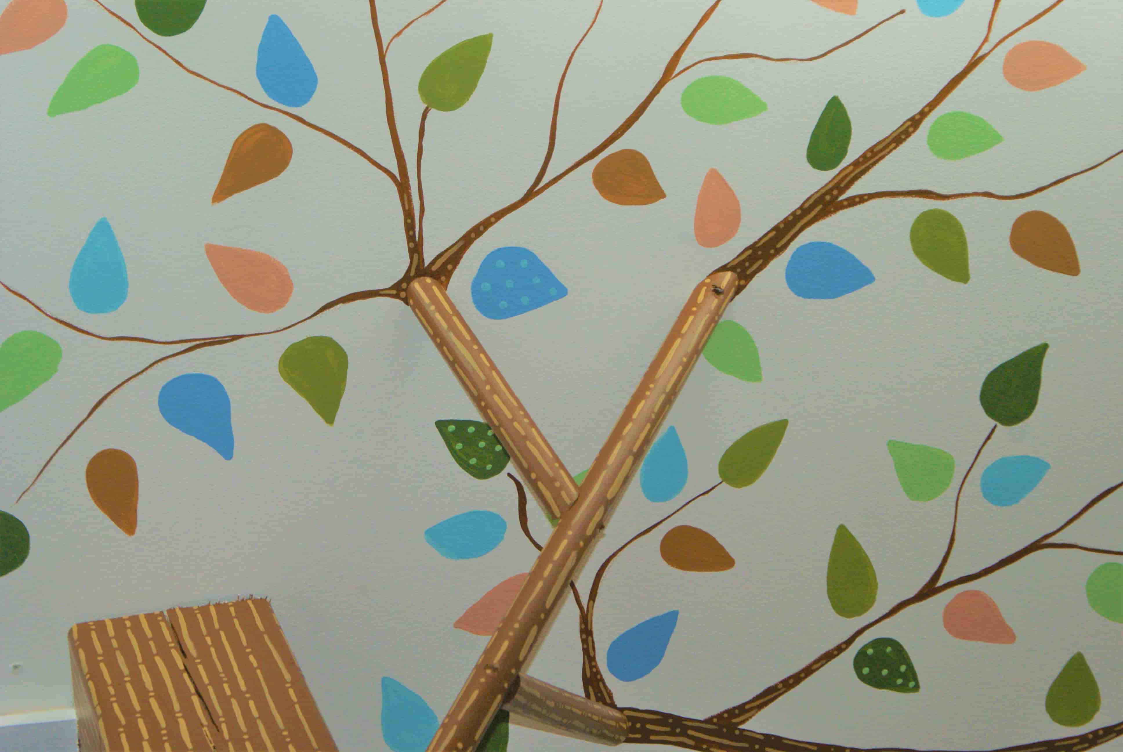 Hand-painted leaves on a ceiling by mural painter Adrienne Scanlan