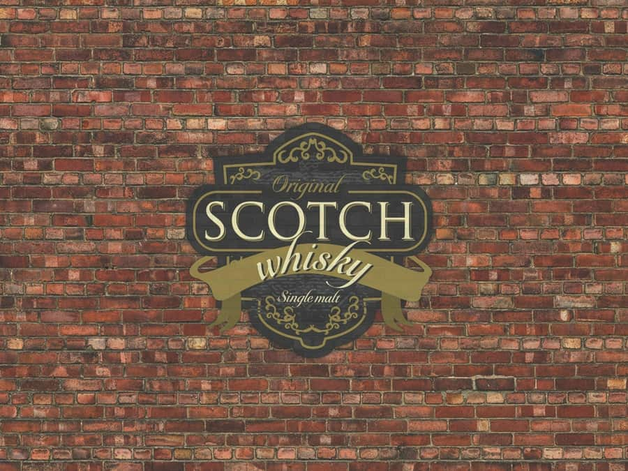 A custom brick wallpaper with a Scotch Whisky label over top