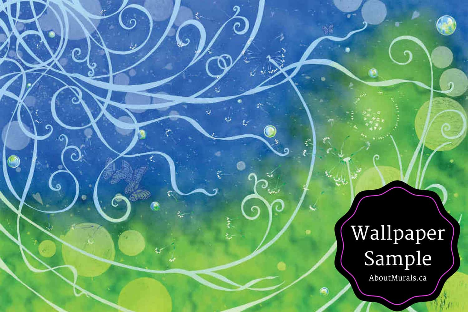 Wallpaper Samples Available For This Blue And Green Flower Mural