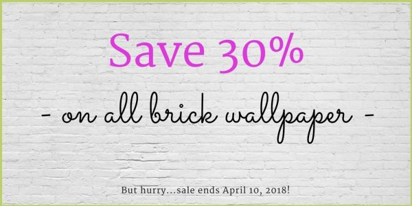 "White brick wallpaper is the background to the words: ""Save 30% on all brick wallpaper"""
