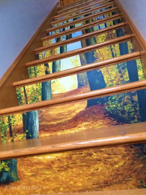 A stair riser wallpaper with an autumn forest theme, sold by AboutMurals.ca