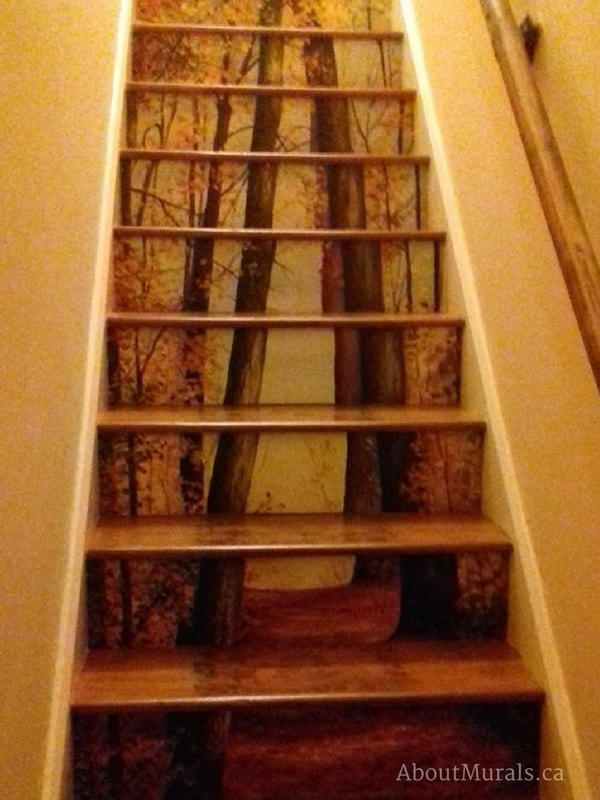 A stair riser wallpaper with a Fall forest theme, sold by AboutMurals.ca