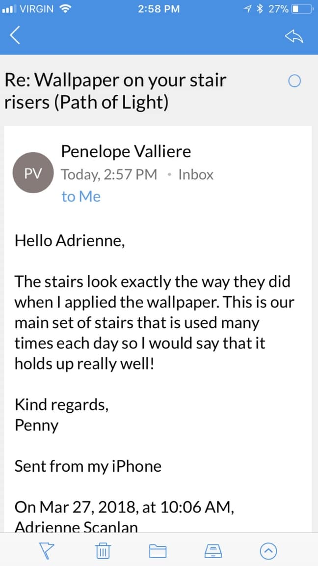 A screenshot of an email talking about the durability of stair riser wallpaper from About Murals