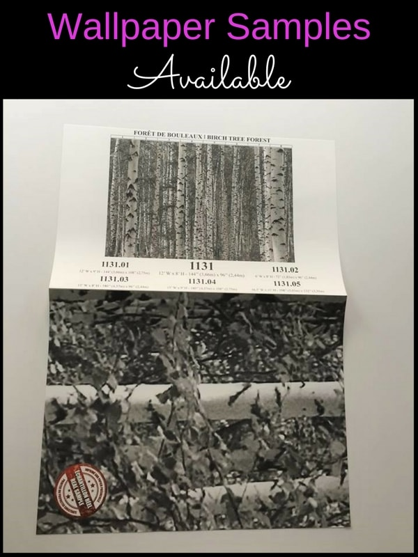 Get a wallpaper sample of this black and white birch tree wallpaper from AboutMurals.ca