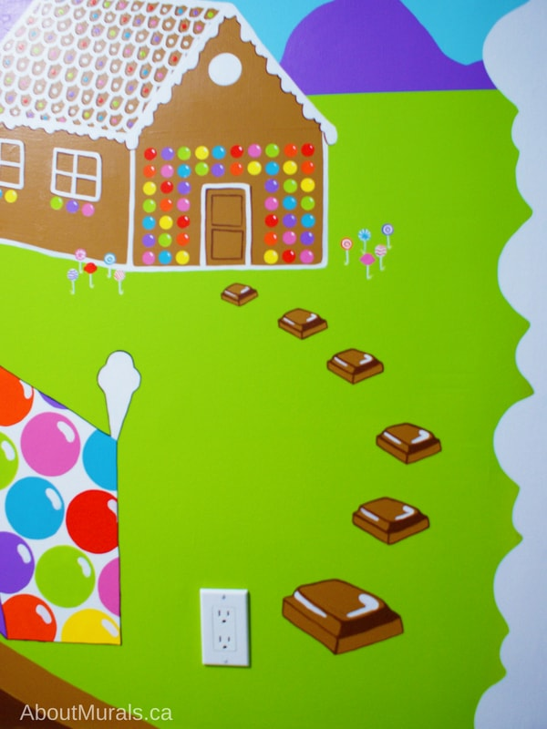 A candy mural featuring a gingerbread house, painted by Adrienne of AboutMurals.ca
