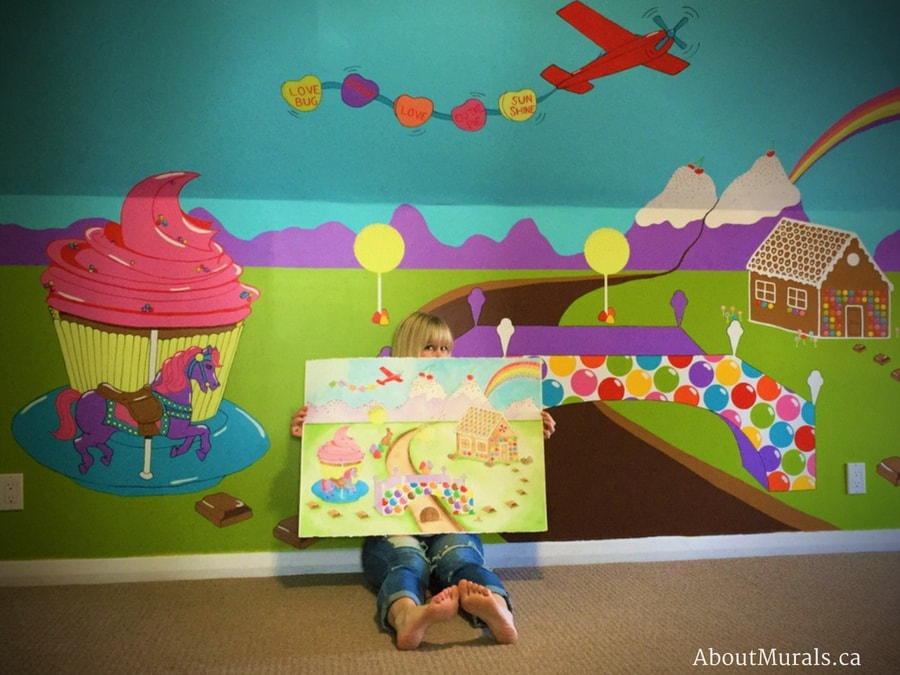 A candy mural is replicated in watercolor to turn into wallpaper, painted by Adrienne of AboutMurals.ca