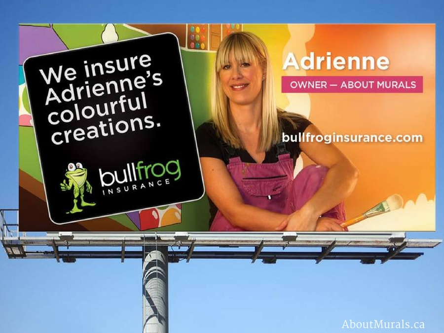 A candy mural, painted by Adrienne of AboutMurals.ca, is featured on a billboard by Bullfrog Insurance