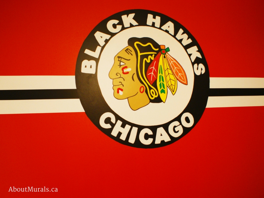 A Chicago Blackhawks mural painted by Adrienne of AboutMurals.ca