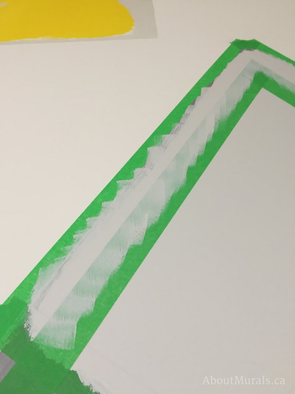 Create a DIY mountain mural by outlining the snowcaps like Adrienne of AboutMurals.ca