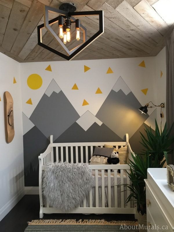 DIY Mountain Mural hand painted in a baby nursery by Adrienne of AboutMurals.ca for Holmes Next Generation TV Show