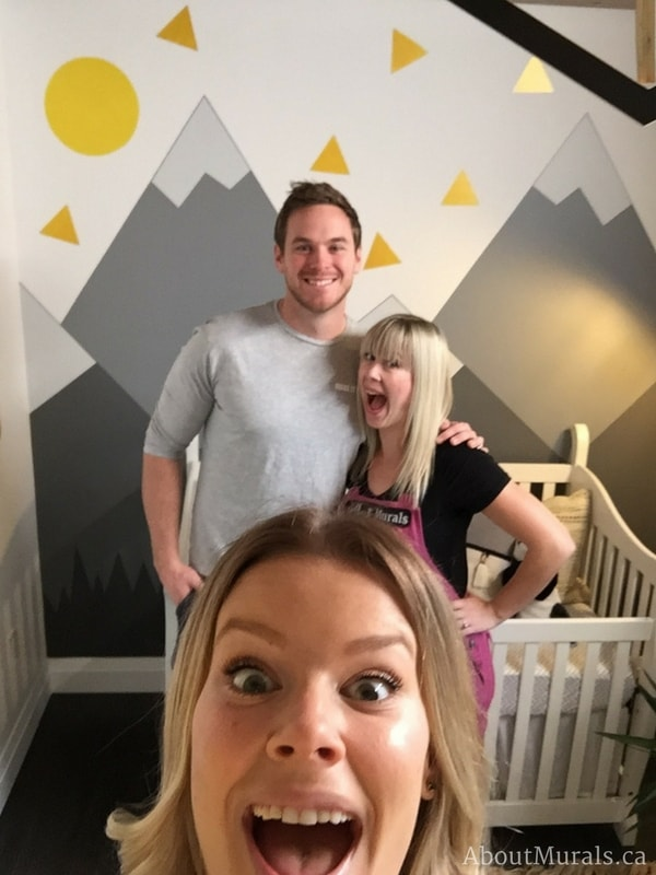 Create a DIY mountain mural like Adrienne of AboutMurals.ca did for Mike Holmes Jr and Sherry Holmes