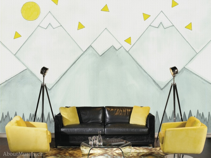 A mountain mural wallpaper designed by Adrienne of AboutMurals.ca