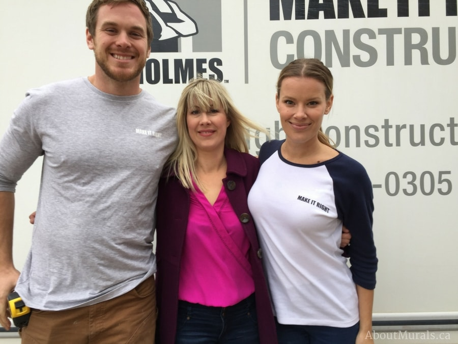 Holmes Next Generation crew Mike Holmes Jr and Sherry Holmes with muralist Adrienne Scanlan
