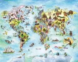 Map Wall Murals - Featured Wallpaper - Kids World from AboutMurals.ca