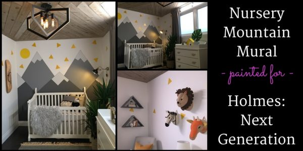 A nursery mountain mural, painted by Adrienne Scanlan of About Murals, is featured in this blog post