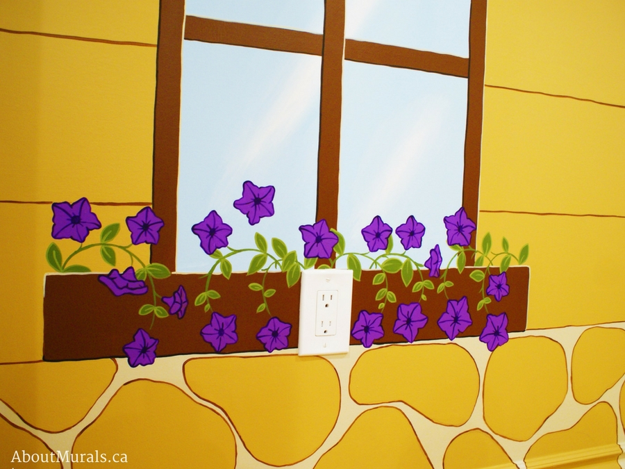 This kids mural features purple petunias in a flower box. Murals painted by Adrienne of AboutMurals.ca