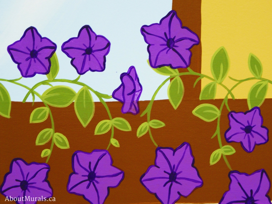 A closeup of purple petunias painted on a playhouse mural by Adrienne of AboutMurals.ca