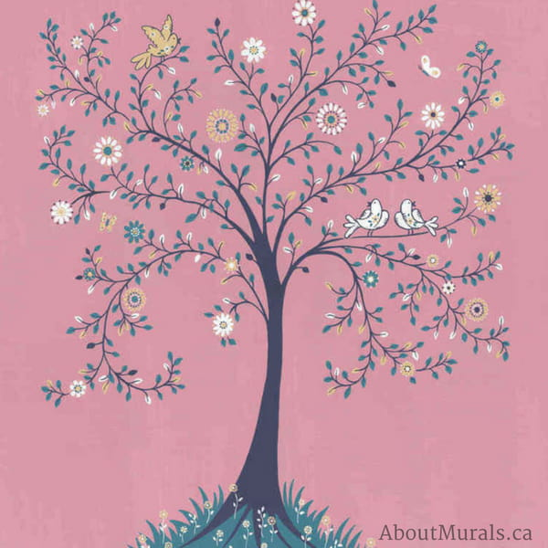 Tree of Life wallpaper mural, sold by AboutMurals.ca, features a whimsical tree with butterflies, birds and flowers on a pink background.