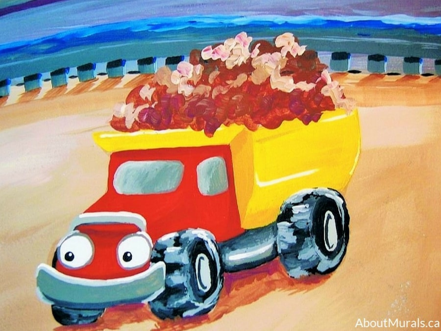 A farm mural featuring a dump truck, painted by Adrienne of AboutMurals.ca