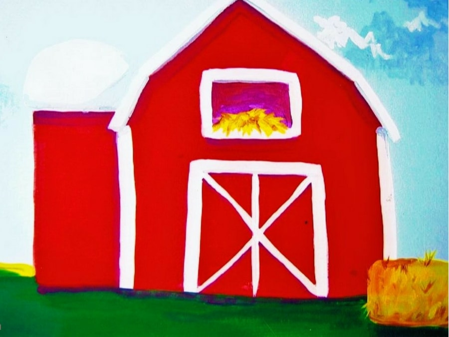 A farm mural featuring a barn, painted by Adrienne of AboutMurals.ca