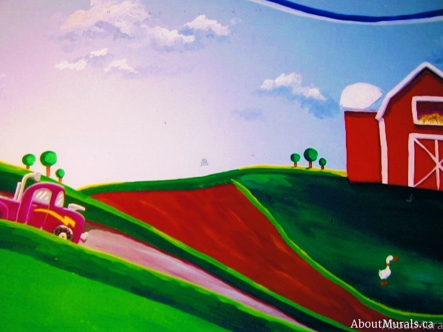 A farm mural featuring a purple truck and red barn, painted by Adrienne of AboutMurals.ca